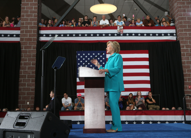Democratic presidential candidate Hillary Clinton speaks at Truckee Meadows Community College in Reno, Nev., Thursday, Aug. 25, 2016. Cathleen Allison/Las Vegas Review-Journal