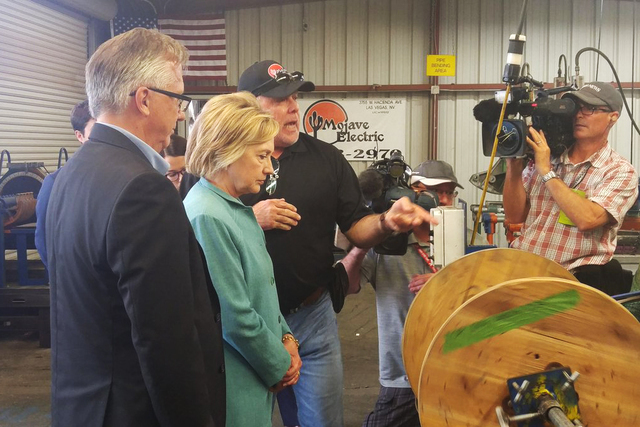 Hillary Clinton arrives at Mojave Electric for tour in Las Vegas on Aug. 4, 2016. (@BenBotkin1/Twitter)