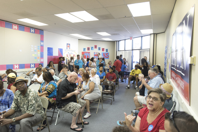 People attend the opening of Democratic presidential candidate Hillary Clinton's new campaign office in North Las Vegas, Sunday, Aug. 28, 2016. Jason Ogulnik/Las Vegas Review-Journal
