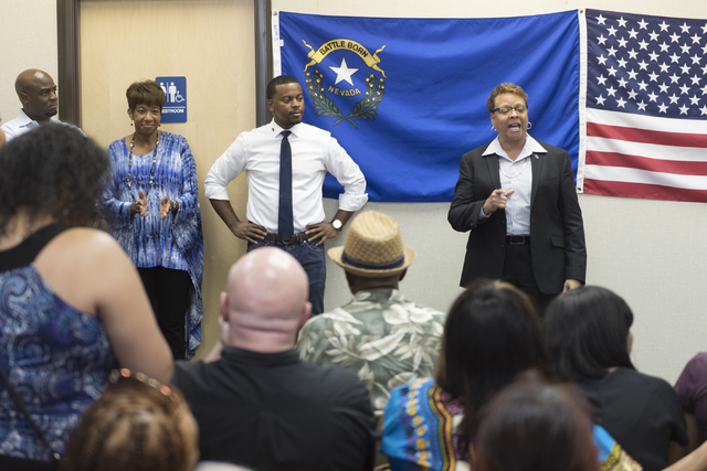 State Sen. Pat Spearman, right, speaks during the opening of Democratic presidential candidate Hillary Clinton's new campaign office in North Las Vegas, Sunday, Aug. 28, 2016. Jason Ogulnik/Las Ve ...