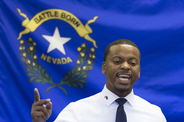 William McCurdy II, candidate for Nevada Assembly District 6, speaks during the opening of Democratic presidential candidate Hillary Clinton's new campaign office in North Las Vegas, Sunday, Aug.  ...