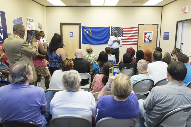 State Sen. Kelvin Atkinson speaks during the opening of Democratic presidential candidate Hillary Clinton's new campaign office in North Las Vegas, Sunday, Aug. 28, 2016. Jason Ogulnik/Las Vegas R ...