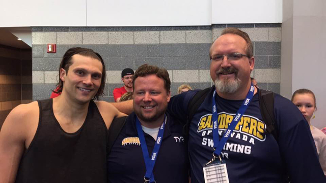 Las Vegas Olympic swimmer Cody Miller, left, poses with his Sandpipers of Nevada coaches Chris Barber and Ron Aitken, right, in this undated photo. (Bold Action Media courtesy Sandpipers of Nevada)