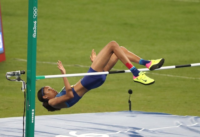 Aug 20, 2016; Rio de Janeiro, Brazil; Vashti Cunningham (USA) competes in the women's high jump during the Rio 2016 Summer Olympic Games at Estadio Olimpico Joao Havelange. Mandatory Credit: Erich ...