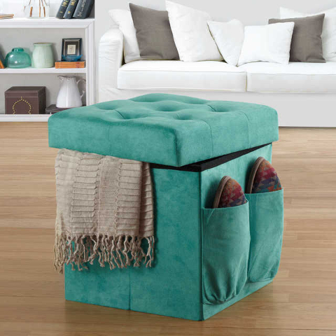 COURTESY BED BATH & BEYOND The Anthology Sit & Store Folding Ottoman adds practical storage and extra seating. It features a removable padded lid/seat, roomy interior compartment and two s ...