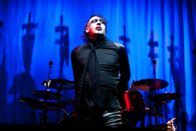 Marilyn Manson performs at the Rock Vegas music festival at Mandalay Bay Events Center on Saturday, Sept. 29, 2012, in Las Vegas. (Chase Stevens/Las Vegas Review-Journal)