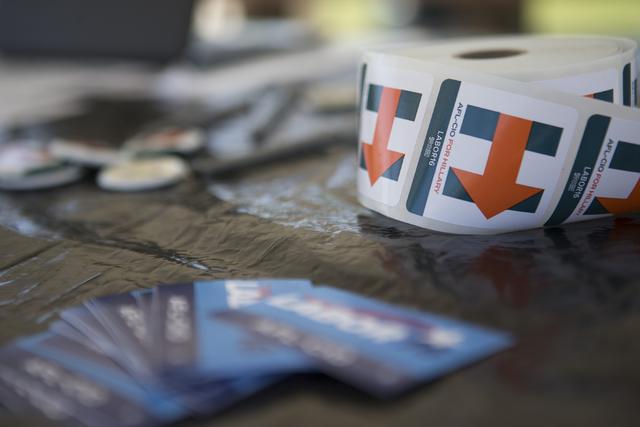 Materials for the AFL-CIO canvass event are seen at Red Ridge Park on Saturday, Aug. 13, 2016, in Las Vegas. (Erik Verduzco/Las Vegas Review-Journal) Follow @Erik_Verduzco