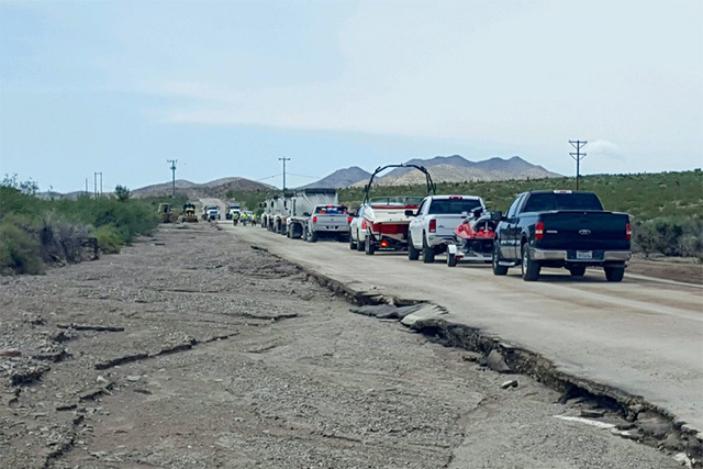 A washed-out section of Cottonwood Cove Road. (Lake Mead National Park)