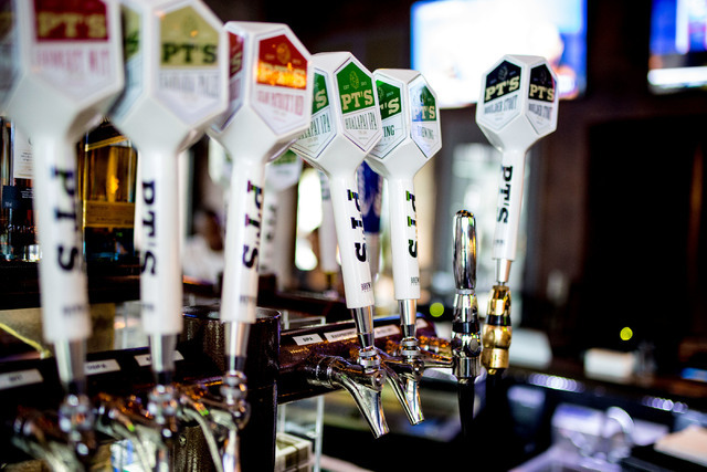 A large selecton of in house PT's craft beers are on tap at PT's Brewing Company off of Tenaya Way and Cheyenne Avenue in Las Vegas on Thursday, Aug. 4, 2016. Elizabeth Brumley/Las Vegas Revie ...