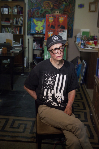 """Artist Dave Dave talks about his """"Lifted"""" painting series at his Las Vegas apartment June 20. (Loren Townsley/View) Follow @lorentownsley on Twitter"""