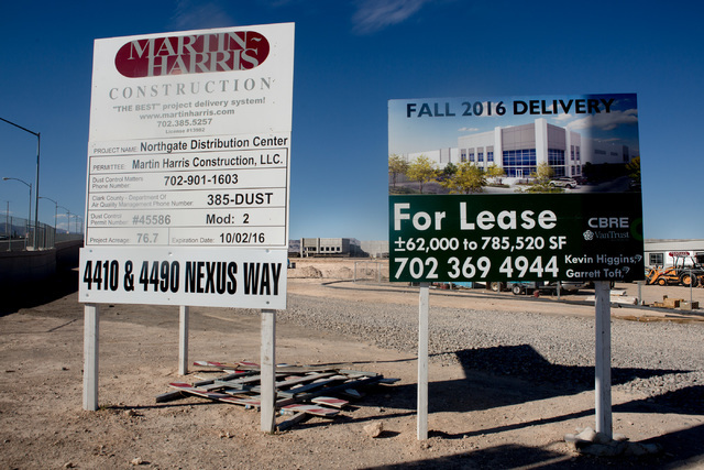 Fanatics Inc. plans to use the 1 million-square-foot distribution center under construction just southwest of the Interstate 15 and 215 Beltway in North Las Vegas. Elizabeth Brumely/Las Vegas Revi ...