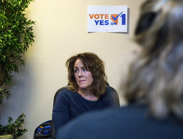 Teresa Lowry, member of Law Enforcement for Background Checks, listens during a Question 1 press conference on Wednesday, Aug. 10, 2016, at Safe House in Henderson. Jeff Scheid/Las Vegas Review-Jo ...