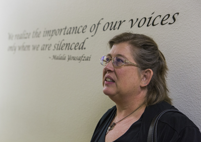 Lisa Lynn Chapman, communication director with Nevada Network Against Domestic Violence, stands in the hallway at Safe House in Henderson after a news conference for Question 1 on Wednesday, Aug.  ...