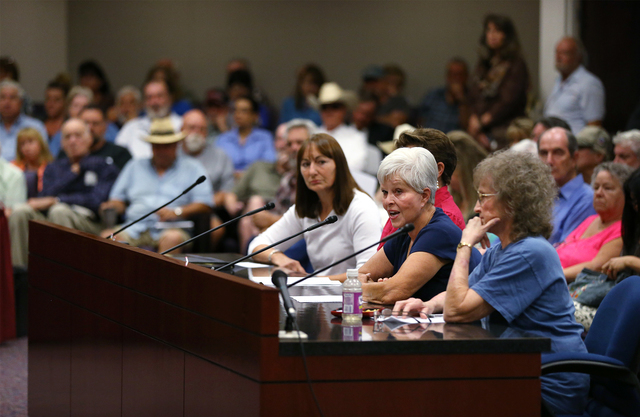 More than 700 people attend a subcommittee hearing at the Legislative Building in Carson City, Nev., on Friday, Aug. 26, 2016. Angry domestic well owners are concerned about a proposal to restrict ...