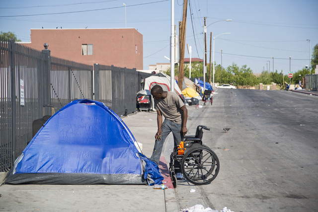 Makeshift campsites are seen along Foremaster Lane in downtown Las Vegas on Friday, Aug. 5, 2016. Daniel Clark/Las Vegas Review-Journal Follow @DanJClarkPhoto