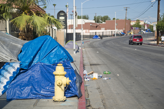 Makeshift campsites constructed by people who have lost their homes are seen along Foremaster Lane in downtown Las Vegas on Friday, Aug. 5, 2016. Daniel Clark/Las Vegas Review-Journal Follow @DanJ ...