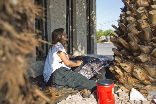 Leslie Walters, who became homeless four months ago, sits in a makeshift campsite along Foremaster Lane in downtown Las Vegas on Friday, Aug. 5, 2016. Daniel Clark/Las Vegas Review-Journal Follow  ...