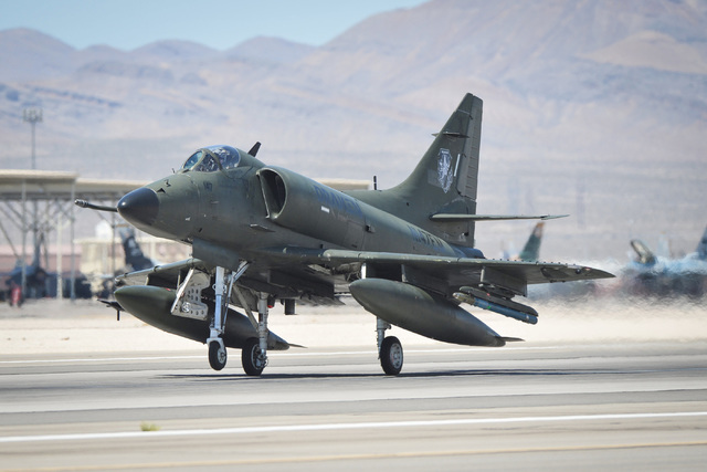 An A-4 Skyhawk participates in Red Flag at Nellis Air Force Base in Las Vegas on  July 19, 2016. A different Draken A-4K Skyhawk crashed north of the base on Thursday, Aug. 18, 2016, after the pil ...