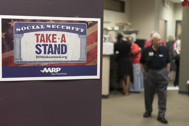 Signage for the AARP Take A Stand campaign is seen during an open house to discuss protecting Social Security at the campaign's office in Las Vegas Tuesday, Aug. 2, 2016. Jason Ogulnik/Las Vegas R ...