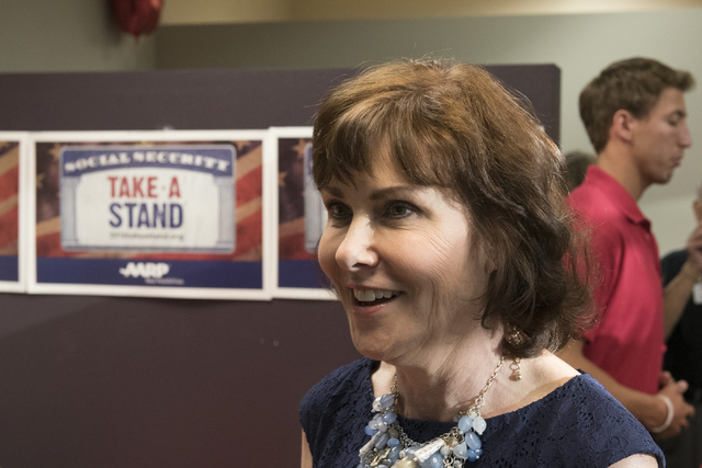 Jacky Rosen, Democratic candidate for the 3rd Congressional District, speaks with a reporter during an open house to discuss protecting Social Security at the AARP Take A Stand campaign office in  ...