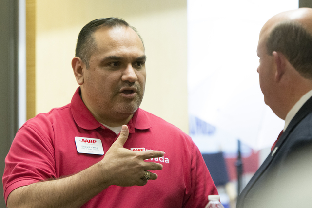 Edward Vento, AARP Take A Stand Nevada State Field Director, is seen during an open house to discuss protecting Social Security at the AARP Take A Stand campaign office in Las Vegas Tuesday, Aug.  ...