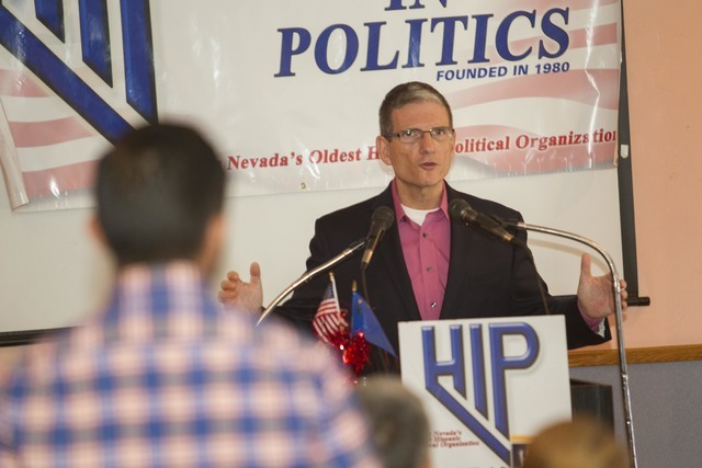 U.S. Rep. Joe Heck, R-Nev., responds to a question during a breakfast meeting hosted by the non-partisan organization Hispanics In Politics at Dona Maria Tamales Restaurant in Las Vegas on Wednesd ...
