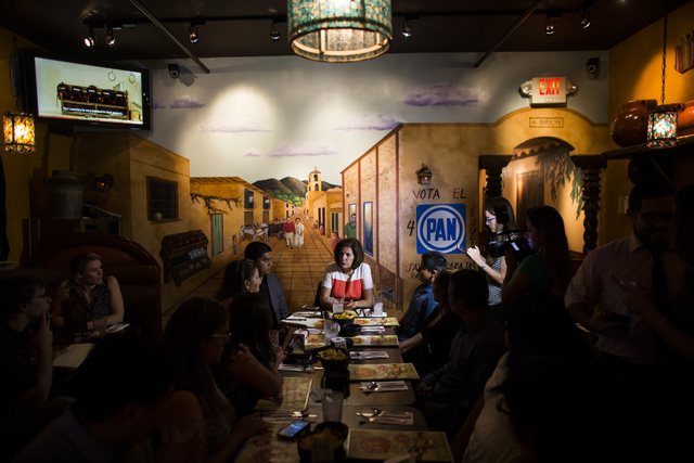 U.S. Senate Democratic candidate Catherine Cortez Masto talks about immigration during a lunch with DAPA and DACA eligible families at Lindo Michoacan in Las Vegas on Wednesday, Aug. 10, 2016. (Ch ...