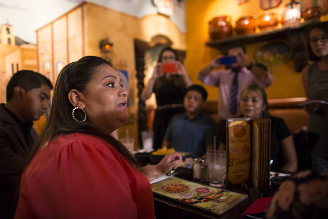 Laura Ozuna, who has a child that is a DACA recipient, speaks during a lunch with U.S. Senate Democratic candidate Catherine Cortez Masto, not pictured, at Lindo Michoacan in Las Vegas on Wednesda ...