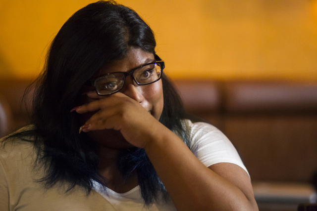 Noemi Guigui, 18, talks about her family, including her undocumented parents who have lived in the U.S. for more than 20 years, during a lunch with U.S. Senate Democratic candidate Catherine Corte ...