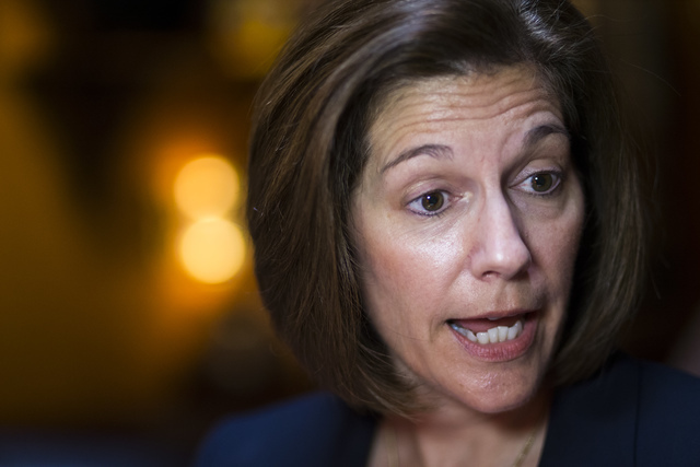 U.S. Senate Democratic candidate Catherine Cortez Masto speaks with news media at Lindo Michoacan in Las Vegas on Wednesday, Aug. 10, 2016. (Chase Stevens/Las Vegas Review-Journal) Follow @cssteve ...