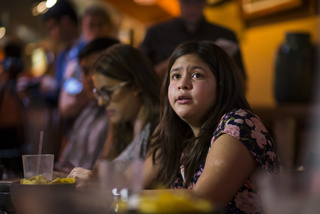 Ten-year-old Yovanna Ozuna, whose parents are undocumented, speaks during a lunch with U.S. Senate Democratic candidate Catherine Cortez Masto, not pictured, at Lindo Michoacan in Las Vegas on Wed ...