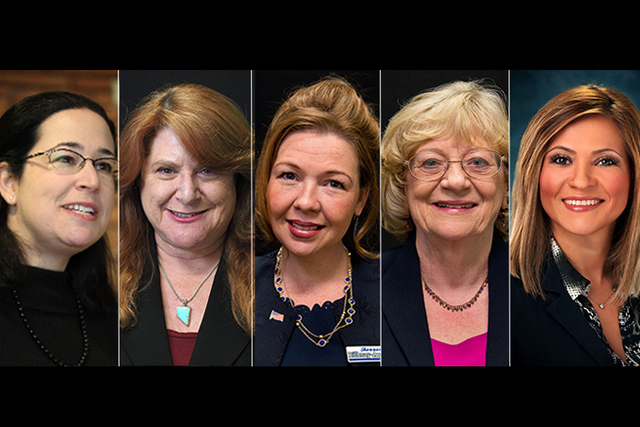 Democratic candidates for state assembly, from left, Lesley Cohen (District 29), Ellen Spiegel (District 20 incumbent), Shannon Bilbray-Axelrod (District 34), Joyce Woodhouse (District 5 incumbent ...