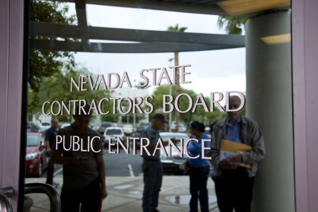 People wait outside before a meeting of the Nevada State Contractors Board at their offices in Henderson on Thursday, Aug. 4, 2016. Daniel Clark/Las Vegas Review-Journal Follow @DanJClarkPhoto