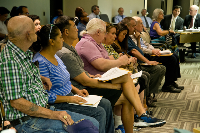 Homeowners affected by Summerlin Energy's bankruptcy wait for a meeting of the Nevada State Contractors Board to begin at their offices in Henderson on Thursday, Aug. 4, 2016. Daniel Clark/Las Veg ...