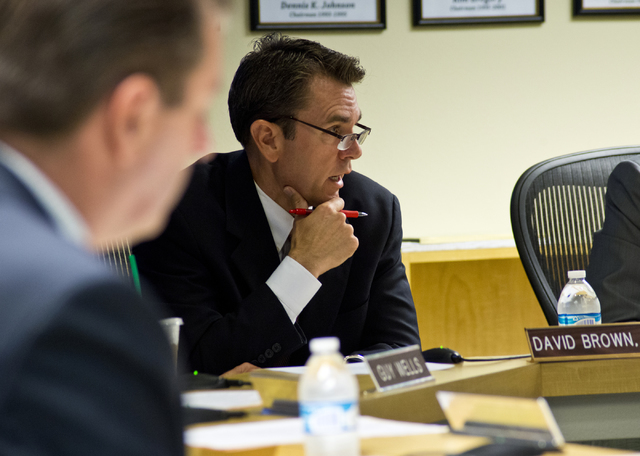 Board member David Brown address issues relating to Summerlin Energy's bankruptcy during a meeting of the Nevada State Contractors Board at their offices in Henderson on Thursday, Aug. 4, 2016. Da ...