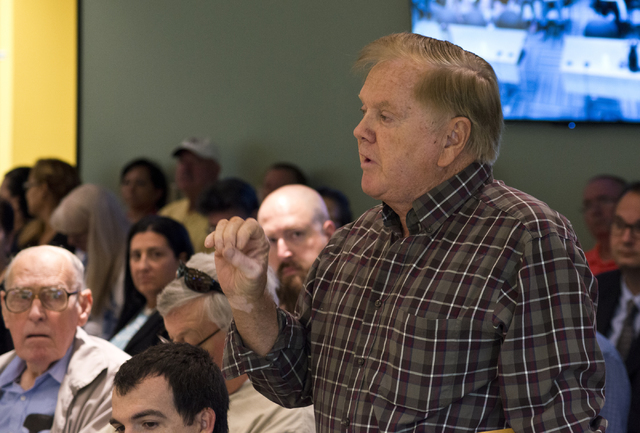 Homeowner Tom Reingruber speaks during a meeting of the Nevada State Contractors Board at their offices in Henderson on Thursday, Aug. 4, 2016. Daniel Clark/Las Vegas Review-Journal Follow @DanJCl ...