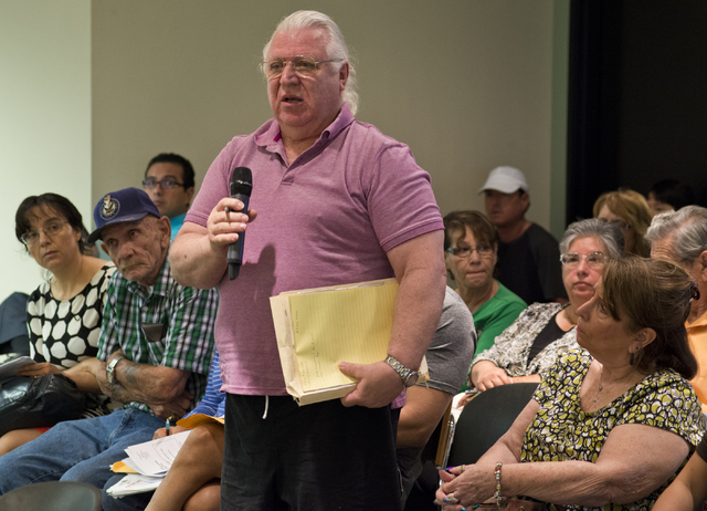 Homeowner Tyler Zambory speaks during a meeting of the Nevada State Contractors Board at their offices in Henderson on Thursday, Aug. 4, 2016. Daniel Clark/Las Vegas Review-Journal Follow @DanJCla ...
