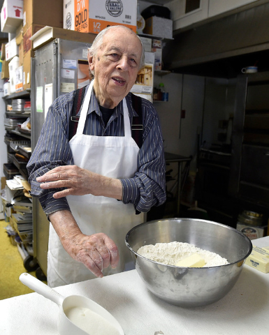 Ernie Feld gets ready to prepare challah dough Wednesday, June 8, 2016, in Incline Village, Nev. The 91-year-old Feld continues to bake at his pastry shop near the shores of Lake Tahoe. David Beck ...