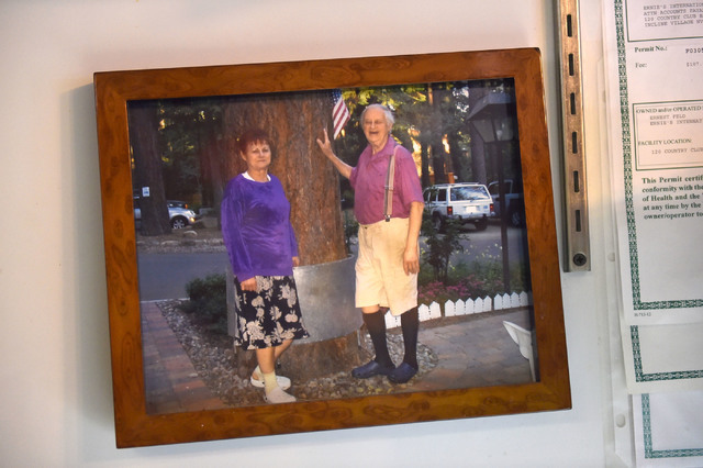 An undated photograph of Ernie Feld, right, with his wife, Marika, is displayed at Ernie's International Pastries on Wednesday, June 8, 2016, in Incline Village, Nev. The 91-year-old Feld continue ...