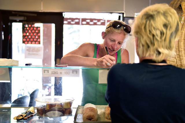 Marika Feld, left, takes an order from Katrina Van Gerpen at Ernie's International Pastries Wednesday, June 8, 2016, in Incline Village, Nev. Feld's husband, Ernie, started his baking career befor ...