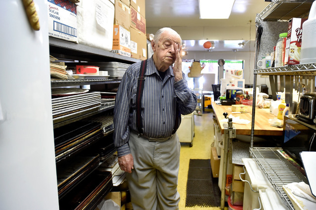 Ernie Feld prepares for another day at his pastry shop Wednesday, June 8, 2016, in Incline Village, Nev. With over seventy-five years of baking experience, Feld continues to create his popular pop ...