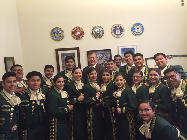 Rancho High School's Mariachi de Oro, directed by instructor Robert Lopez, was invited to perform in Washington, D.C., in May 2016. They visited Congressman Crescent Hardy in his D.C. office. Sp ...