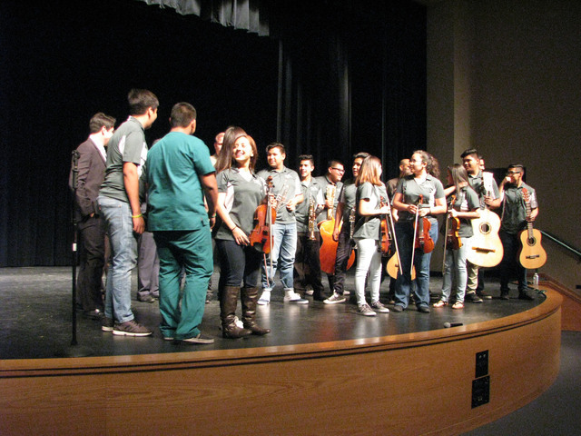 Rancho High School's Mariachi de Oro, seen on stage at Rancho High School, 1900 E. Searles Ave., on May 15, 2016, directed by instructor Robert Lopez, was invited to perform in Washington, D.C., ...