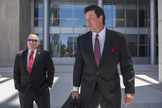 James Lescinsky, left, and his attorney Jack Campbell are seen outside the Lloyd George U.S. Courthouse in Las Vegas on Monday, Aug. 8, 2016. (Martin S. Fuentes/Las Vegas Review-Journal)