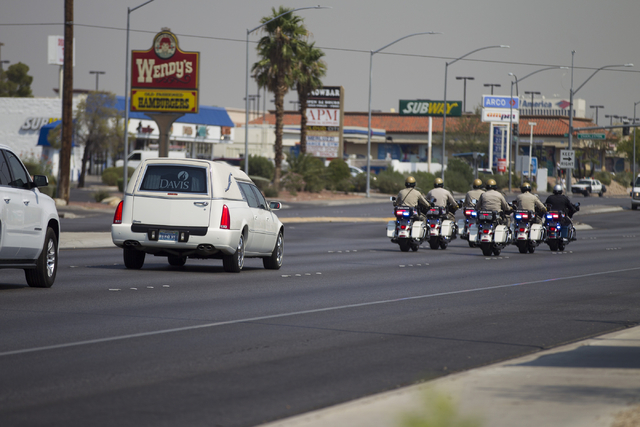The funeral procession for fallen firefighter Justin Beebe, with the Lolo Hotshot Crew based in Missoula, Montana, at a Davis Funeral Home on Wednesday, Aug. 17, 2016, in Las Vegas. Erik Verduzco/ ...