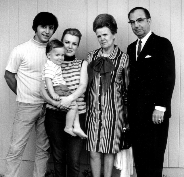 A 1968 photo taken by Jay Sebring shows his brother-law Tony DiMaria, Peggy DiMaria holding their son Anthony,and Jay and Peggy's parents, Margarette and Bernard Kummer, who were visiting from Det ...