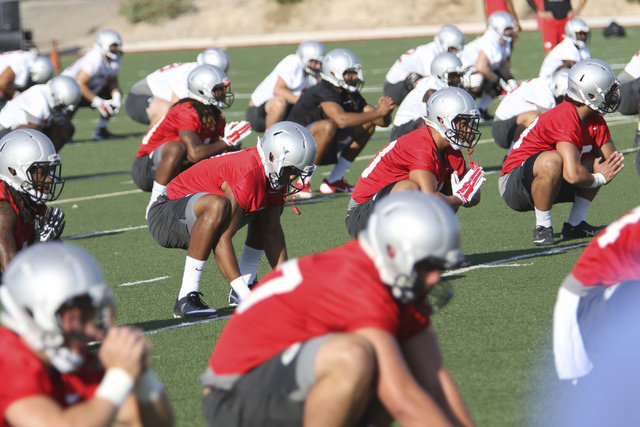 UNLV Rebels football players are seen during practice at the Bill 'Wildcat' Morris Rebel Park field on Friday, Aug. 6, 2016. (Richard Brian/Las Vegas Review-Journal) Follow @vegasphotograph