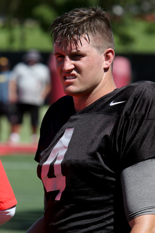 UNLV quarterback Johnny Stanton looks on during a public scrimmage at Rebel Park on the UNLV campus Saturday, Aug. 13, 2026. (Richard Brian/Las Vegas Review-Journal) Follow @vegasphotograph