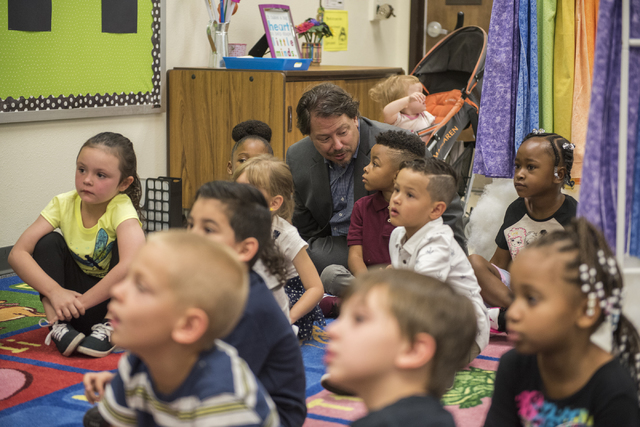 Clark County School District Superintendent Pat Skorkowsky, center, speaks to kindergarten students on the first day of school at James B. McMillan Elementary School in Las Vegas on Monday, Aug. 2 ...