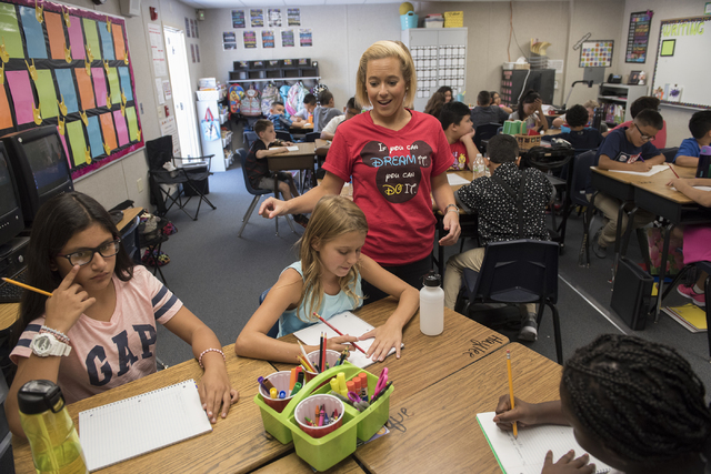 Fifth grade teacher Nicole Gladish, center, mingles with her students during the first day of school at William V. Wright Elementary School in Las Vegas on Monday, Aug. 29, 2016. Martin S. Fuentes ...